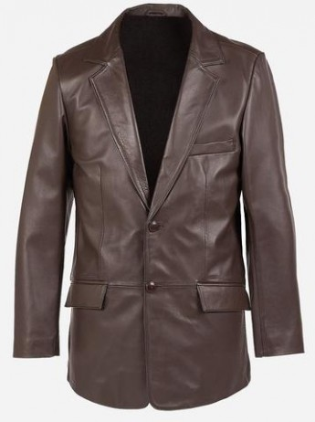 2 Buttons Classic Premium Brown Cowhide Leather Coat for Men
