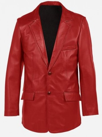 2 Buttons Classic Premium Red Cowhide Leather Coat for Men