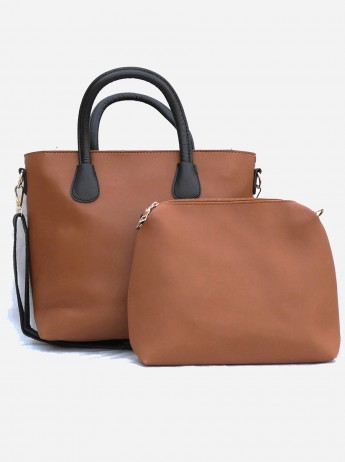 2 in 1 Beautiful Tan Brown Tote