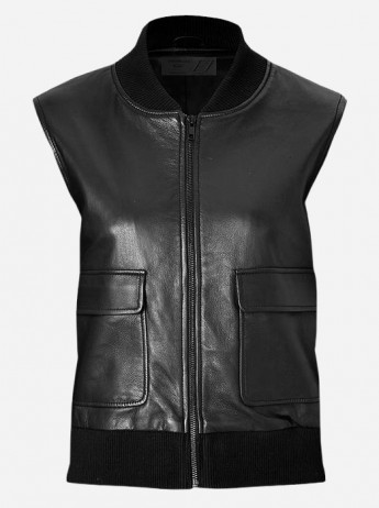 2 Pocket Women's Black Bomber Leather Vest