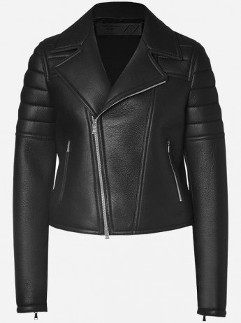Balmain Look Cropped Black Women Leather Jacket