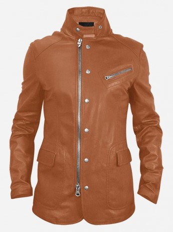 Ladies Tan Leather Biker Jacket