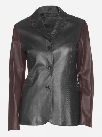 Black & Brown 3 Button Leather Coat for Women