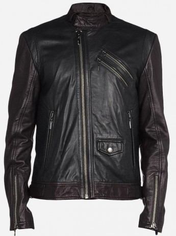 Black & Brown Leather Biker Jacket Men