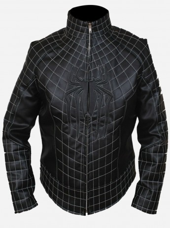 Black Leather Spider-man Jacket for Men