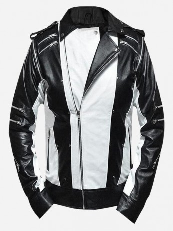Black & White Women Two-Tone Pepsi Leather Jacket