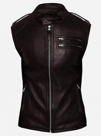 Fitted Moto Racer Men Brown Leather Vest