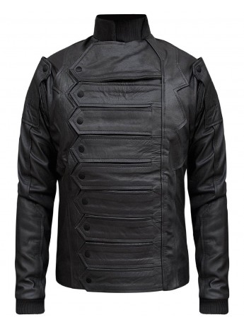 Bucky Barnes Captain America Winter Soldier Black Leather Jacket
