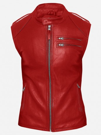 Fitted Moto Racer Men Red Leather Vest