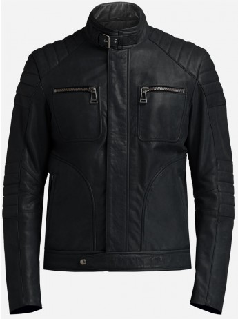 High Collar Leather Jacket Men