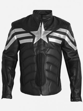 Captain America Winter Soldier Black Leather Jacket