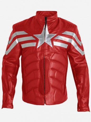 Captain America Winter Soldier Red Leather Jacket