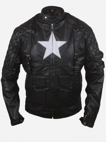 Age of Ultron Captain America Leather Motorcycle Jacket