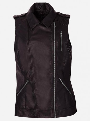 Classic Biker Women Brown Leather Vest