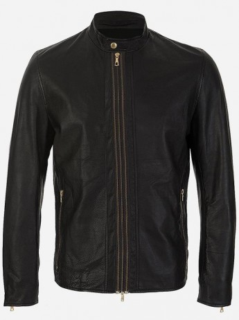 Classic Zipper Men Black Leather Biker Jacket