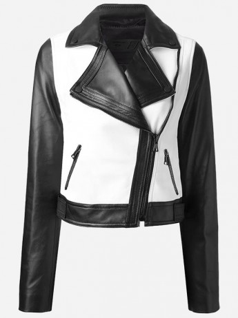 Women Black and White Leather Motorcycle Jacket