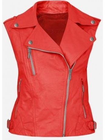 Cool Double Rider Quilted Women's Red Leather Vest