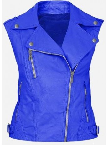 Cool Double Rider Quilted Women's Blue Leather Vest
