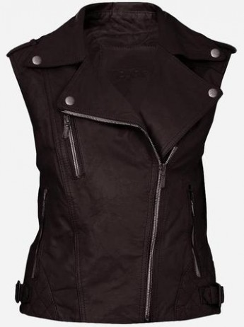 Cool Double Rider Quilted Women's Brown Leather Vest