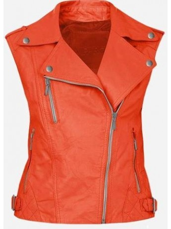Cool Double Rider Quilted Women's Orange Leather Vest