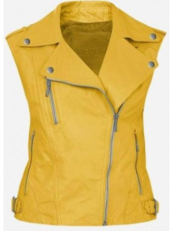 Cool Double Rider Quilted Women's Yellow Leather Vest