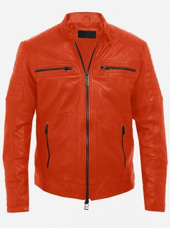 Orange Colour Leather Jacket