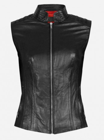 Cool Women Black Fitted Moto Leather Vest