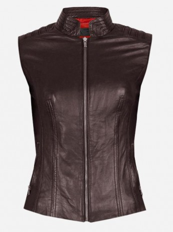 Cool Women Brown Fitted Moto Leather Vest