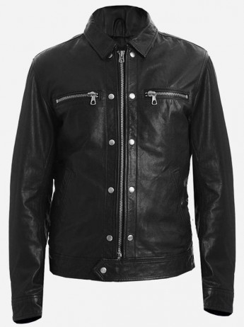 Damon Salvatore The Vampire Diaries Black Leather Jacket Men