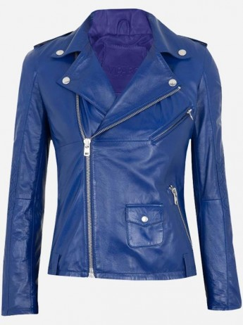 Double Rider Women Blue Leather Jacket