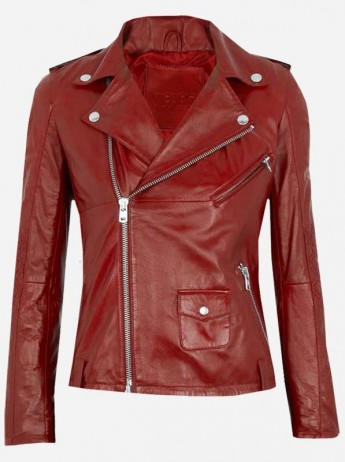 Women's Dark Red Leather Jacket