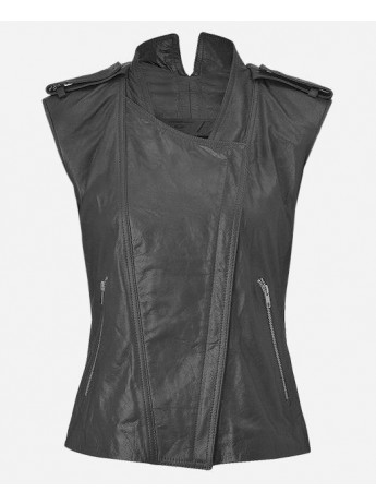 Fashion Designer Women's Gray Leather Vest