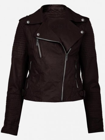 Dark Brown Leather Biker Jacket
