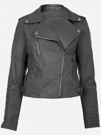 Vintage Charcoal Grey Leather Jacket