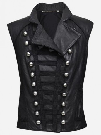 Fashionable Women Miltary Black Leather Vest