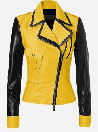 Yellow & Black Women Leather Jacket
