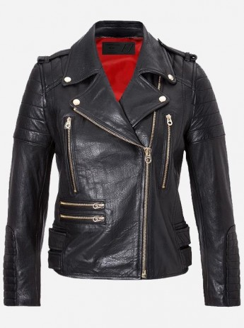 Golden Zipper Women Black Leather Jacket