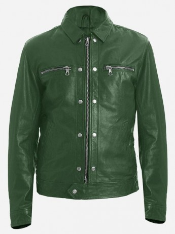 Fashionista Men's Green Leather Jacket