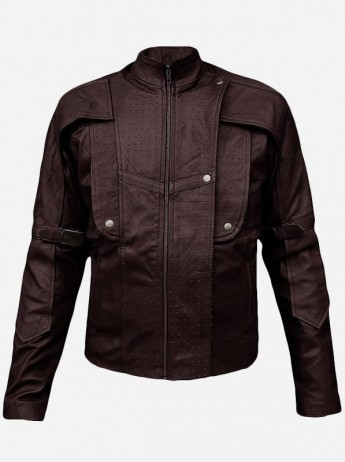 Guardians of the Galaxy Star Brown Leather Jacket for Men