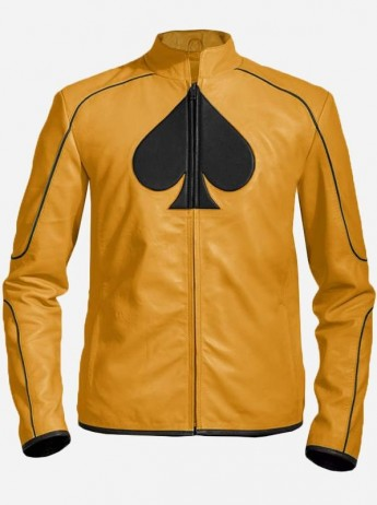 Hand-Made Yellow Formal Ace Leather Jacket for Men