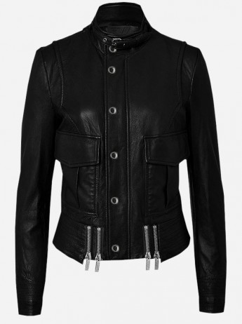 Handmade Cool Black Leather Biker Jacket for Women