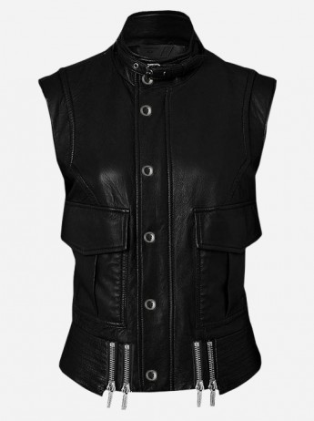 Handmade Cool Black Leather Biker Vest for Women