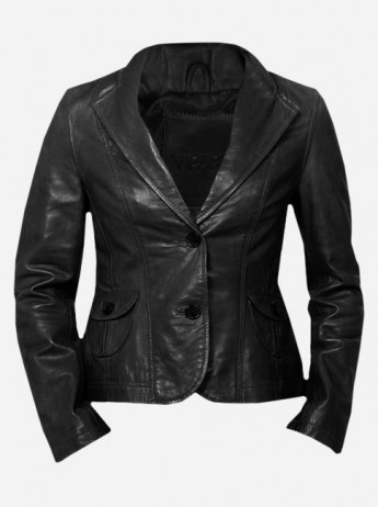 Lightweight 2 Button Women Black Leather Coat