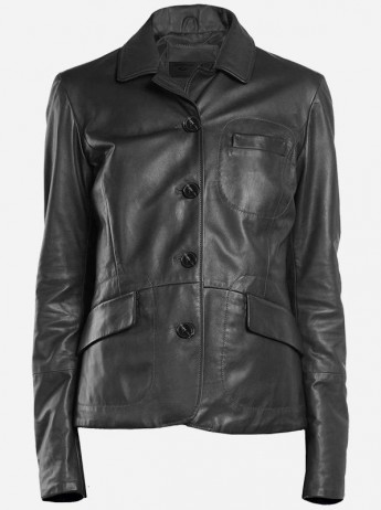 Lightweight 4 Button Women Black Leather Coat