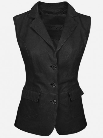 Luxurious 3 Button Women's Black Leather Vest