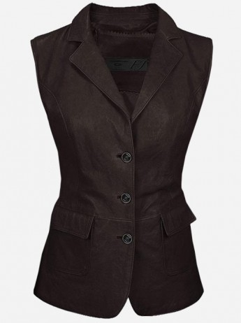 Luxurious 3 Button Women's Brown Leather Vest