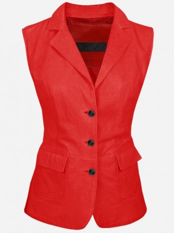 Luxurious 3 Button Women's Red Leather Vest
