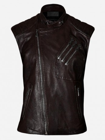 Men Brown Leather Vest with Pockets