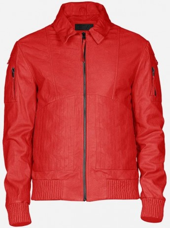 Men Red Bomber Winter Fashion Street Style Leather Jacket