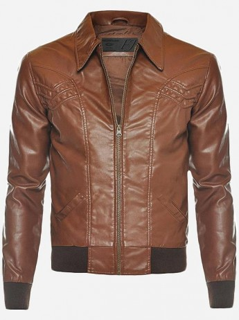 Tan Leather Bomber Jacket Men